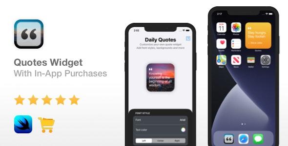 Quotes Widget - iOS 14 & In-App Purchases | Widget app | Xcode 12 - CodeCanyon Item for Sale