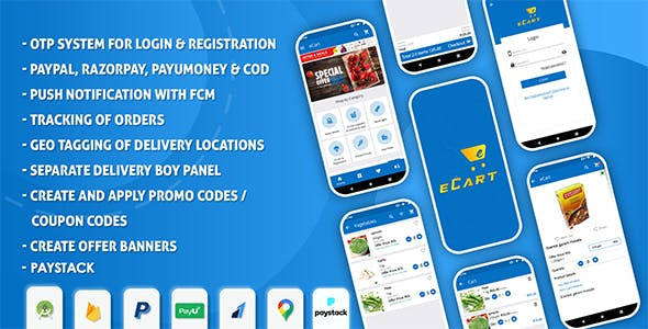 eCart - Grocery, Food Delivery, Fruits & Vegetable store, Full Android Ecommerce App
