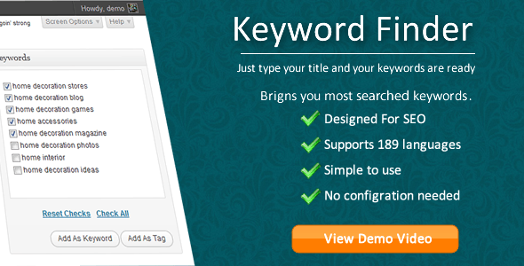 Keyword Finder for Wordpress - CodeCanyon Item for Sale