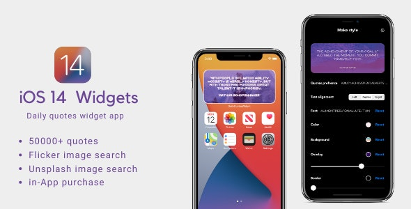 iOS14 widget Quote app with in app purchase - CodeCanyon Item for Sale