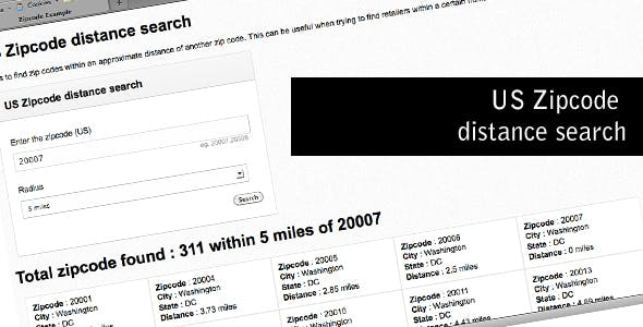 US Zipcode distance search