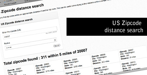 US Zipcode distance search - CodeCanyon Item for Sale