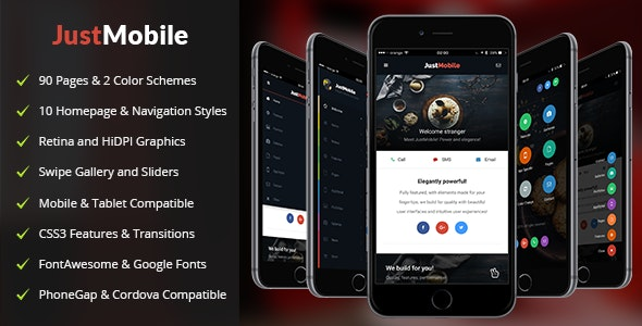 JustMobile | PhoneGap & Cordova Mobile App - CodeCanyon Item for Sale