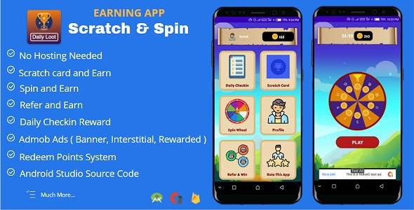 Scratch & Spin to Win Android App with Earning System + Admob Ads - CodeCanyon Item for Sale