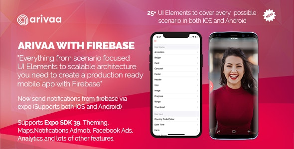 Arivaa Built with Firebase (React Native and Expo 39) - CodeCanyon Item for Sale
