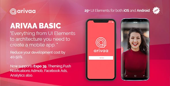 Arivaa - React Native Theme (Basic Version | Expo 39 )