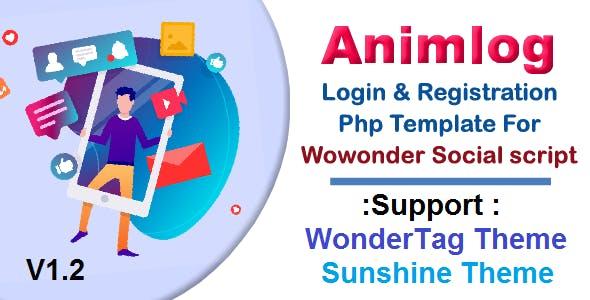 Animlog Login and Registration Template for wowonder Social PHP Script