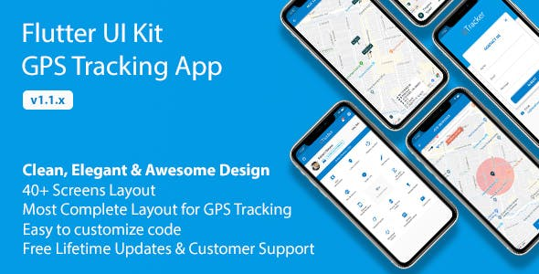 Flutter UI Kit - GPS Tracking App