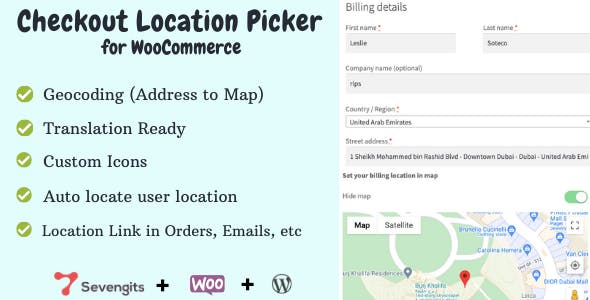 WooCommerce Checkout Location Picker - Sevengits