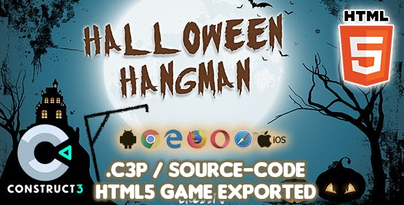 Halloween Hangman HTML5 Game - Construct 3 Source-code
