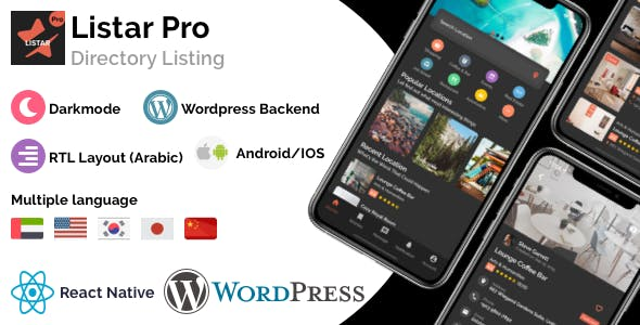 Listar Pro - mobile directory listing app for React Native & Wordpress