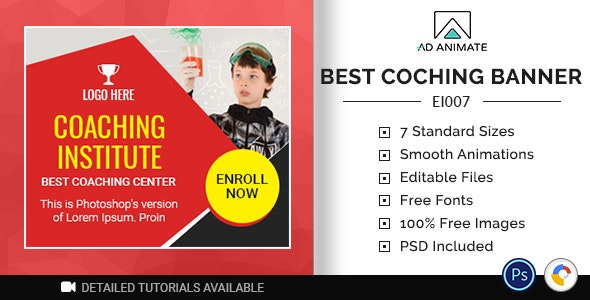 Education & Institute | Best Coaching Banner (EI007) - CodeCanyon Item for Sale