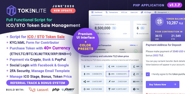 TokenLite - ICO / STO Token Sale Management Dashboard - ICO Admin Script - CodeCanyon Item for Sale