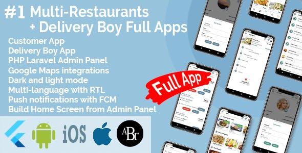 Multi-Restaurants Flutter App + Delivery Boy App + PHP Laravel Admin Panel