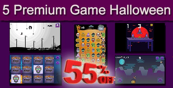 Halloween 5 in 1 Bundle - HTML5 Mobile Game