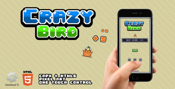 Crazy Bird - HTML5 Game - CodeCanyon Item for Sale