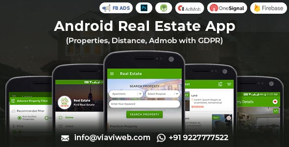 Android Real Estate App (Properties, Distance, Admob with GDPR)