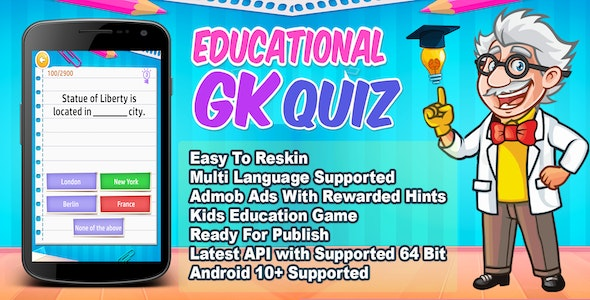 Educational GK Quiz + Best Education Trivia Quiz Game - CodeCanyon Item for Sale