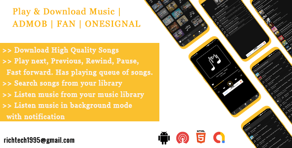 Download & Play Music with Build in Music Player | FAN | ADMOB | ONESIGNAL