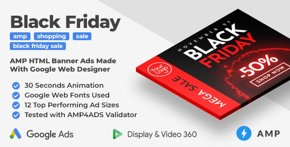 Black Friday Sale AMP Banner Ad Templates (GWD, AMP) - CodeCanyon Item for Sale