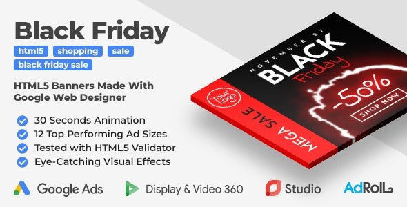 Black Friday Sale HTML5 Banner Ad Templates (GWD)