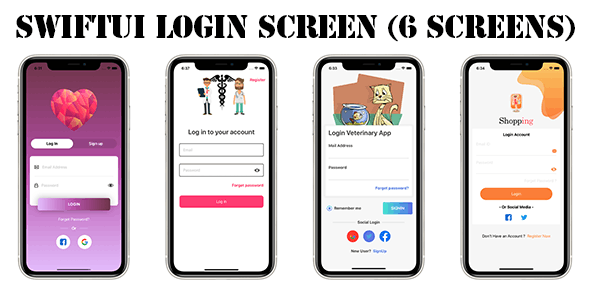 SwiftUI 6 Login Screen Templates Simple and Nice Looking - CodeCanyon Item for Sale