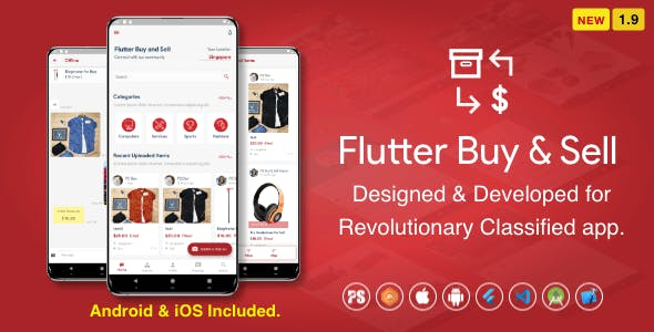 Flutter BuySell For iOS Android ( Olx, Mercari, Offerup, Carousell, Buy Sell, Classified ) ( 1.9 )