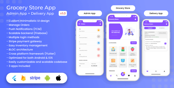 Grocery, Food, E-commerce Single Vendor Store with Admin App and Delivery App