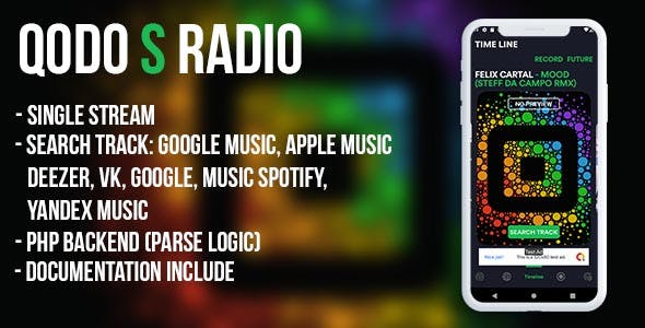 QODO S (android) - live radio with timeline