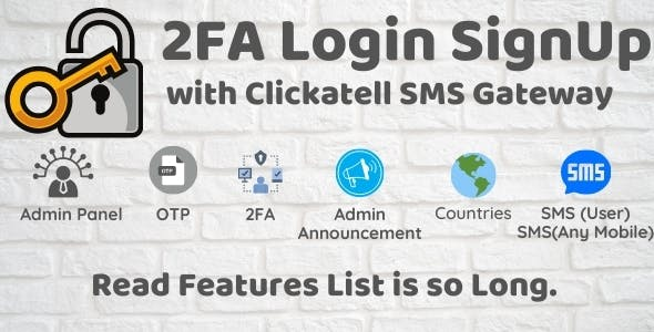 2FA Login SignUp Via Clickatell SMS with Admin Panel