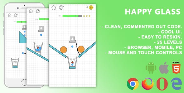 Happy Glass. Mobile, Html5 Game. .c3p (Construct 3)