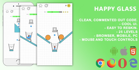 Happy Glass. Mobile, Html5 Game. .c3p (Construct 3) - CodeCanyon Item for Sale