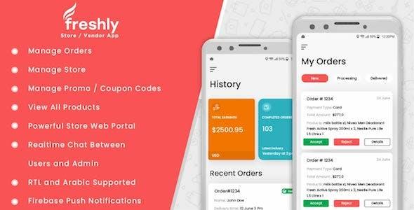 Freshly - Native Grocery Vendor / Store Owner App