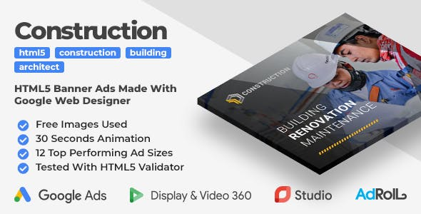 Building & Construction Animated HTML5 Banner Ad Templates (GWD)