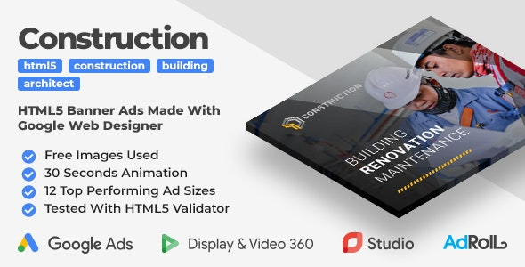 Building & Construction Animated HTML5 Banner Ad Templates (GWD) - CodeCanyon Item for Sale