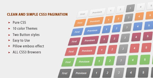 Clean colorful and Simple CSS3 Pagination