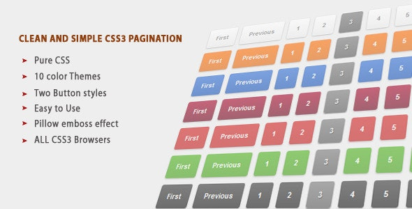 Clean colorful and Simple CSS3 Pagination - CodeCanyon Item for Sale