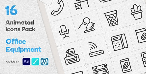 Office Equipment Animated Icons Pack - Wordpress Lottie Json Animation SVG