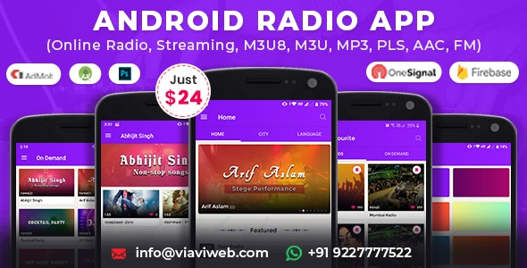 Android Radio App (Online Radio, Streaming, M3U8, M3U, MP3, PLS, AAC, FM) - CodeCanyon Item for Sale