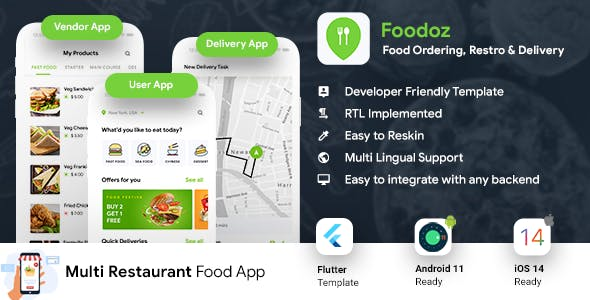 Multi Restaurant Food Ordering App | Food Delivery App | 3 Apps| Android + iOS App Template| Flutter