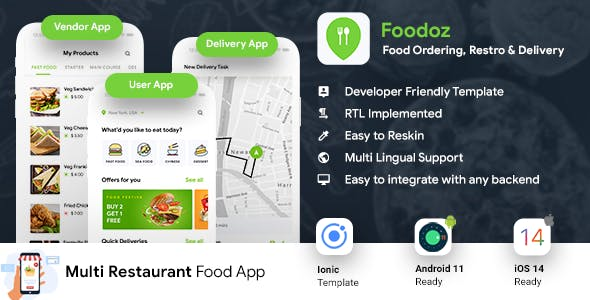 Multi Restaurant Food Ordering App | Food Delivery App | 3 Apps| Android + iOS App Template| IONIC 5