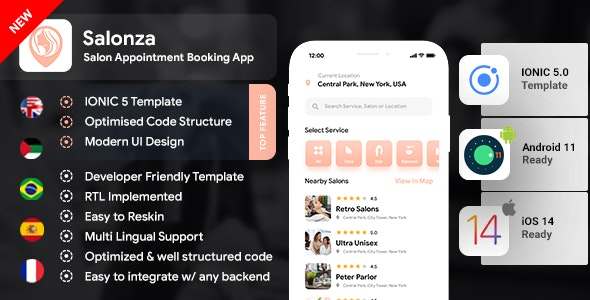 Salonza v1.0 – Multi Salon Android App Template + iOS App Template