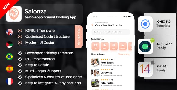 Multi Salon Android App Template+ Multi Salon iOS App Template|2 Apps User+Salon| IONIC 5| Salonza