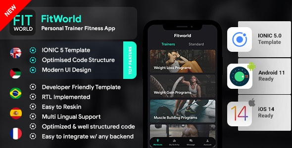 Fitness Android App + Fitness iOS App Template | Workout App | IONIC 5 | Fitworld - CodeCanyon Item for Sale
