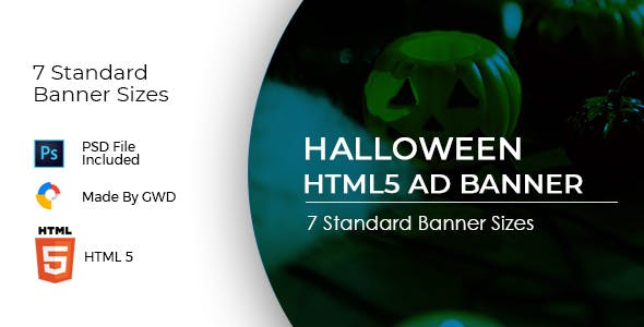 Animated Html5 Halloween Ad Banners Template