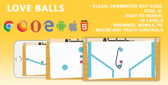 Love Balls. Mobile, Html5 Game. .c3p (Construct 3)