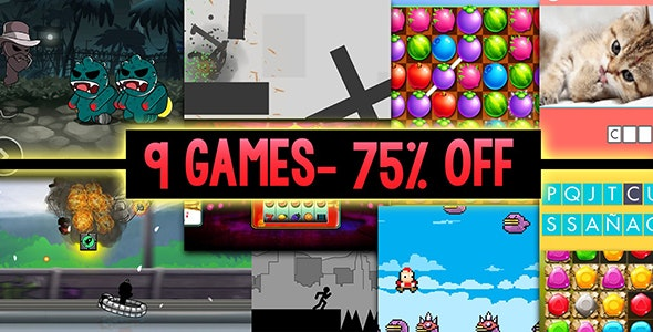 Unity Bundle  9 Games- Great discount of 75% for a mega bundle of 9 premium Unity games - CodeCanyon Item for Sale