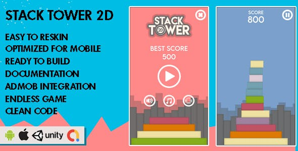 Stack Tower 2D - Unity Game - Android Hypercasual Game