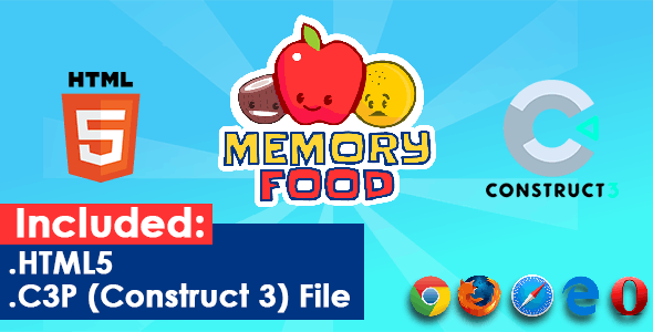 Memory Food - HTML5 Game - CodeCanyon Item for Sale