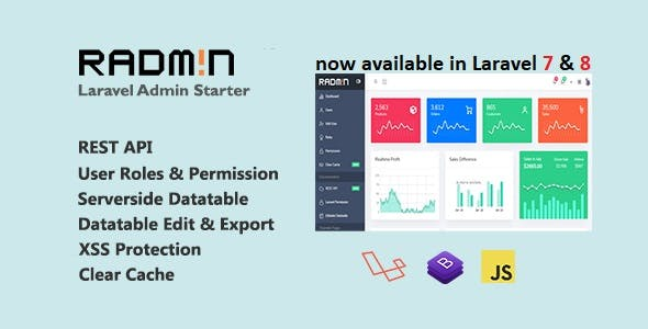 Radmin - Laravel Admin starter with REST API, User Roles & Permission